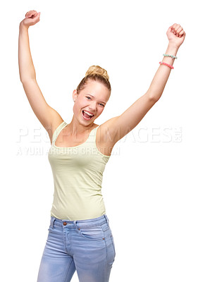 Buy stock photo A pretty smiling teenage girl standing with arms raised in the air in a joyful gesture