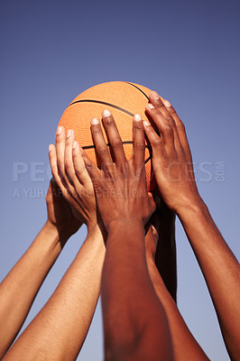 Buy stock photo Closeup of hands holding up a basketball