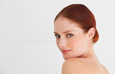 Buy stock photo A  woman looking over her shoulder seductively
