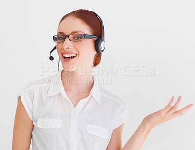 Buy stock photo Portrait of a pretty, young telemarketer