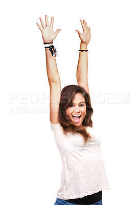 Buy stock photo Studio portrait of an attractive young woman standing with her hands in the air
