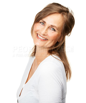 Buy stock photo Studio portrait of a gorgeous mature woman smiling at the camera