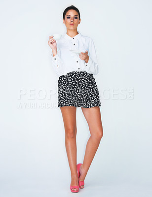 Buy stock photo Full length studio shot of an attractive young woman posing for the camera
