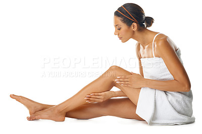 Buy stock photo Studio shot of a young woman with gorgeous skin isolated on white