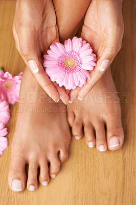 Buy stock photo Cropped view of hands on perfectly pedicured feet with flowers all around
