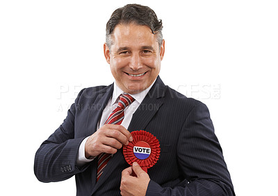 Buy stock photo Portrait of a man in a suit with a voting ribbon on a white background