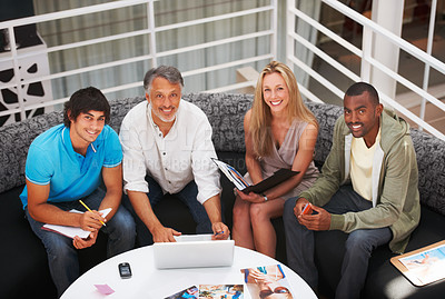 Buy stock photo Portrait of a team of designers discussing business
