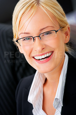 Buy stock photo Portrait of an adorable business executive in an office