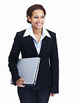 Happy business woman holding laptop on white