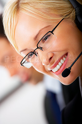 Buy stock photo A friendly telephone operator