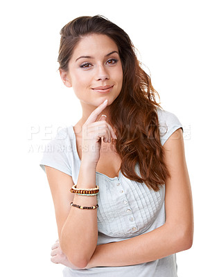 Buy stock photo A contemplative young woman looking at the camera