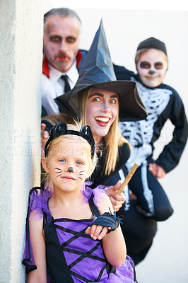 Buy stock photo A family dressed up for Hallowe'en together