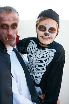 Buy stock photo Dad and son dressed up for Hallowe'en