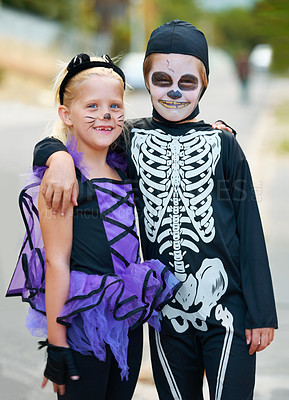 Buy stock photo Cute boy and girl dressed up for Hallowe'en