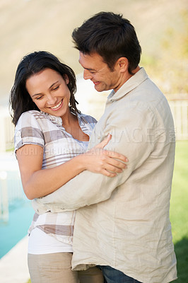 Buy stock photo A cute couple being affectionate