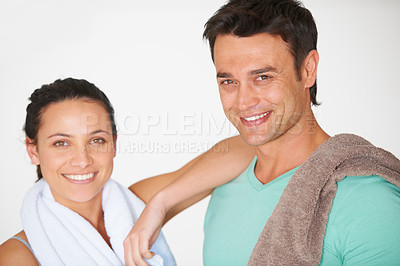 Buy stock photo Portrait of two gym lovers
