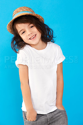 Buy stock photo Portrait of a cute little boy wearing a hat against a blue background