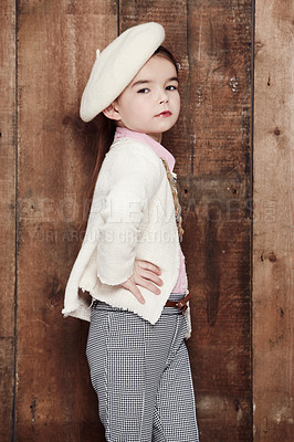Buy stock photo Portrait of an adorable little girl posing fashionably