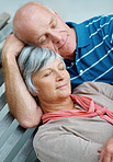 Closeup portrait of a loving senior couple relaxing together