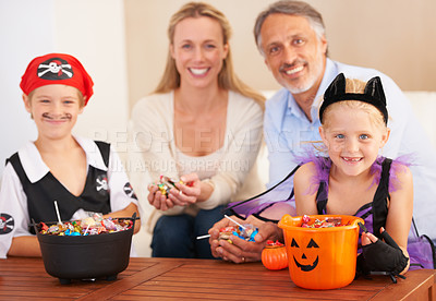 Buy stock photo Portrait of a family on halloween with children in fancy dress
