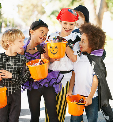 Buy stock photo Shot of children on halloween