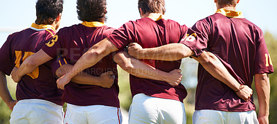 Buy stock photo Rearview shot of a young rugby team lining up for a scrum