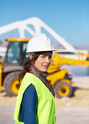 Buy stock photo Portrait of an attractive young construction worker on site