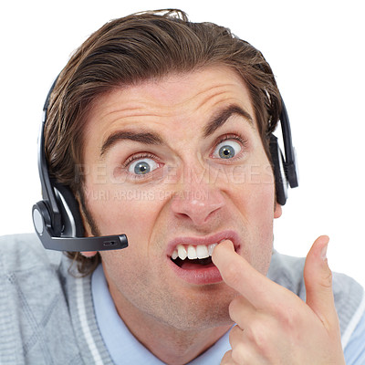 Buy stock photo Portrait of a young man wearing a headset picking his teeth