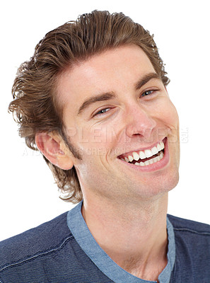 Buy stock photo Portrait of a young man laughing happily