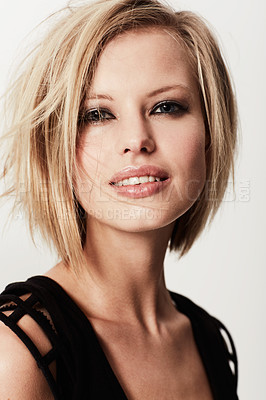 Buy stock photo Head and shoulders image of a stunning young fashion model with an edgy look