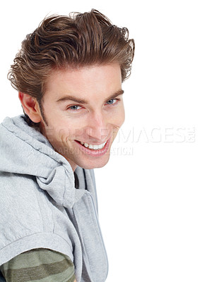 Buy stock photo Casual young man smiling broadly at the camera