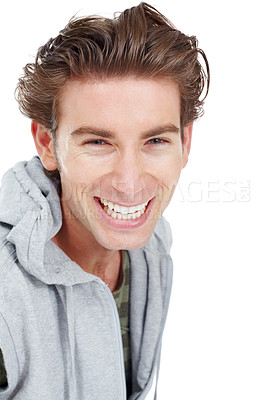 Buy stock photo Handsome young man smiling broadly at the camera