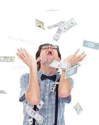 Buy stock photo Shot of a young man showing off his money