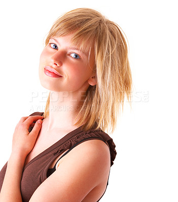 Buy stock photo Portrait of a relaxed happy young blonde girl smiling. Wearing a brown top.