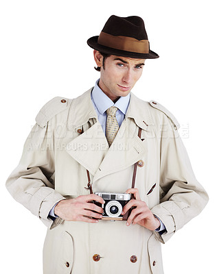 Buy stock photo Reporter holding a retro camera against a white background