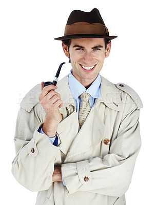 Buy stock photo Thoughtful private investigator smoking his pipe against a white background with a smile