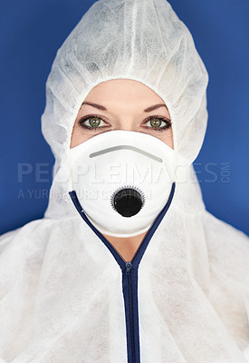 Buy stock photo Portrait of a young woman in protective wear