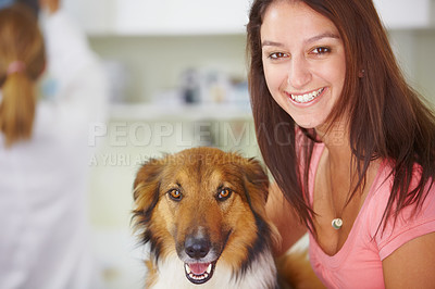 Buy stock photo Portrait of a smiling pretty female with her canine pet