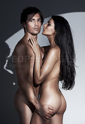 Buy stock photo A young couple in the throes of passion