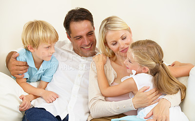 Buy stock photo A loving family of four spending time together
