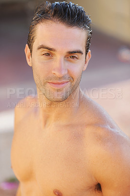 Buy stock photo Closeup of a handsome young topless man - portrait