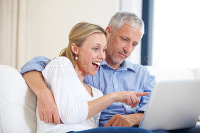 Buy stock photo A young woman getting excited with her husband and pointing to something on the laptop