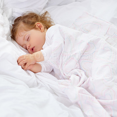 Buy stock photo A cute baby sleeping on the bed