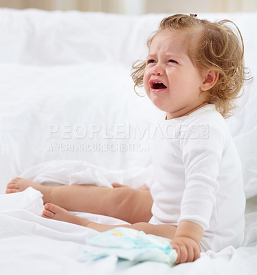 Buy stock photo An adorable baby crying