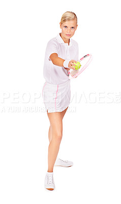 Buy stock photo Full length portrait of an attractive young woman getting ready to serve