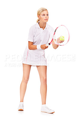 Buy stock photo Full length image of an attractive young woman getting ready to serve