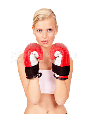 Buy stock photo Portrait of a beautiful female boxer