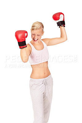 Buy stock photo Shot of a beautiful female boxer