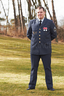 Buy stock photo Full length portrait of a high ranking military official standing at ease