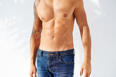 Buy stock photo A handsome man's muscular torso